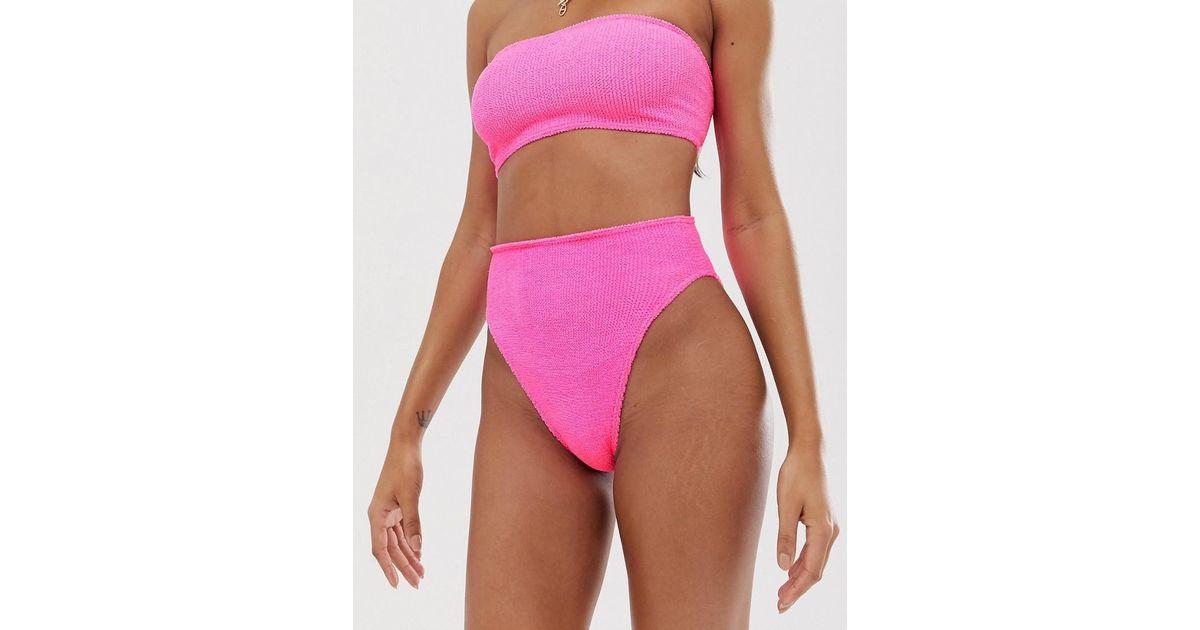 a4a9770d33633 Lyst - ASOS Charlotte Pink Mix And Match Crinkle High Leg High Waist Bikini  Bottom in Pink