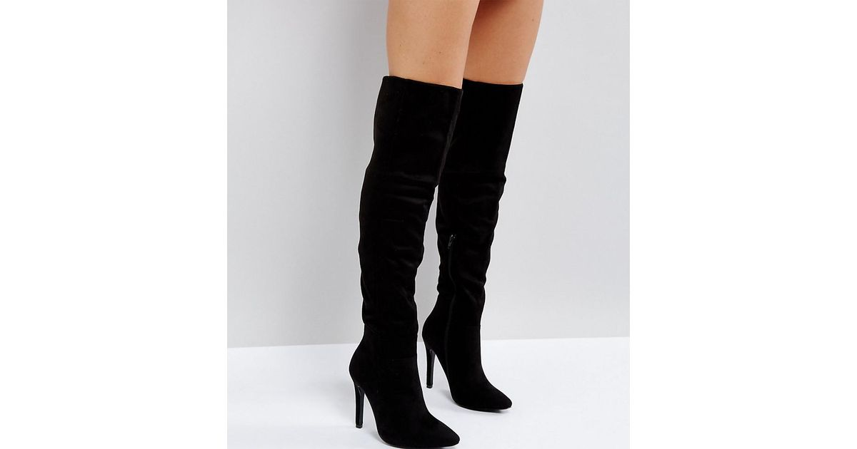 32c0ac4fa1f Lyst Truffle Collection Wide Fit Thigh High Sti Boot In Black. Asos Design  Wide Leg Kadi Heeled ...