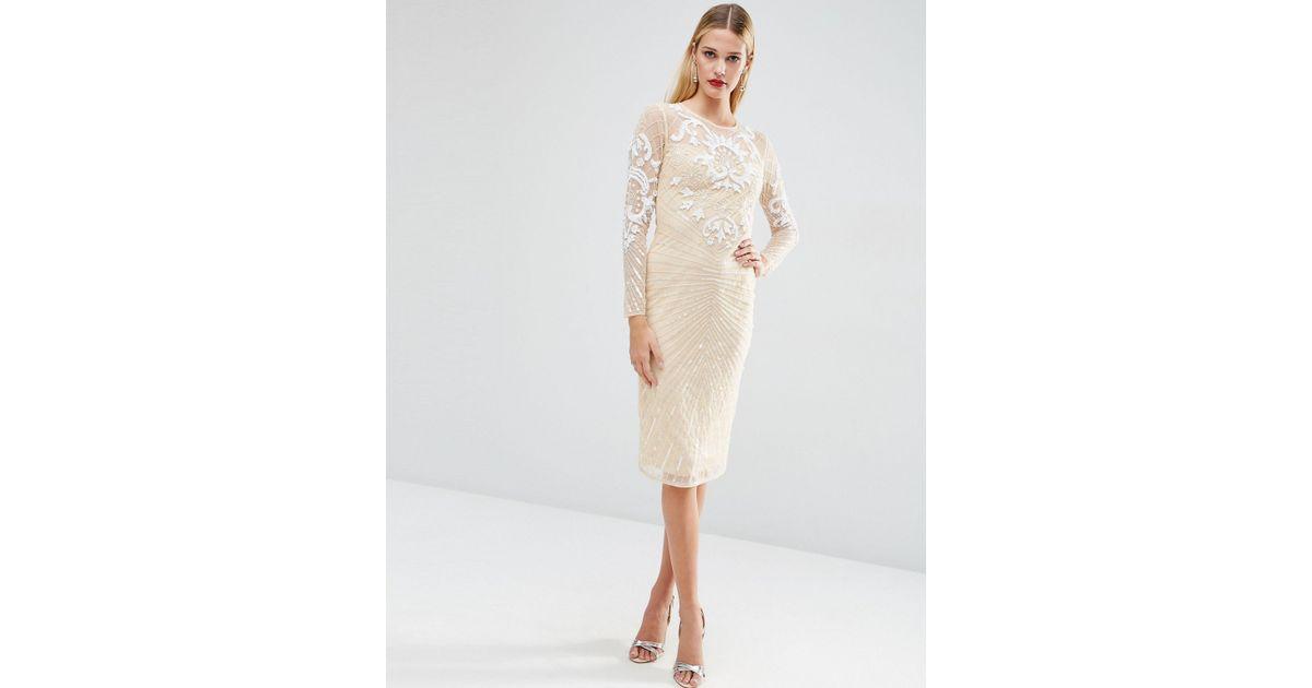b84763f373 Lyst - ASOS Red Carpet Premium Embellished Mesh Midi Dress in Natural