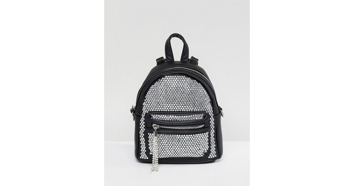 e47a0de295c ALDO Backpack With Crystal Studding Detail And Tassels in Black - Lyst