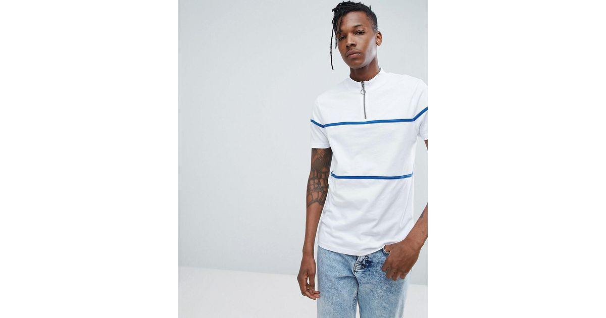 Hot Sale Online TALL T-Shirt With Zip Neck And Piping In Heavy Jersey - White Asos Genuine Online Nicekicks Online Hot Sale For Sale Free Shipping 2018 Unisex UttTl