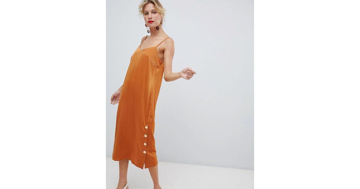 Lyst Yas Side Split Copper Button Detail Cami Dress In Orange
