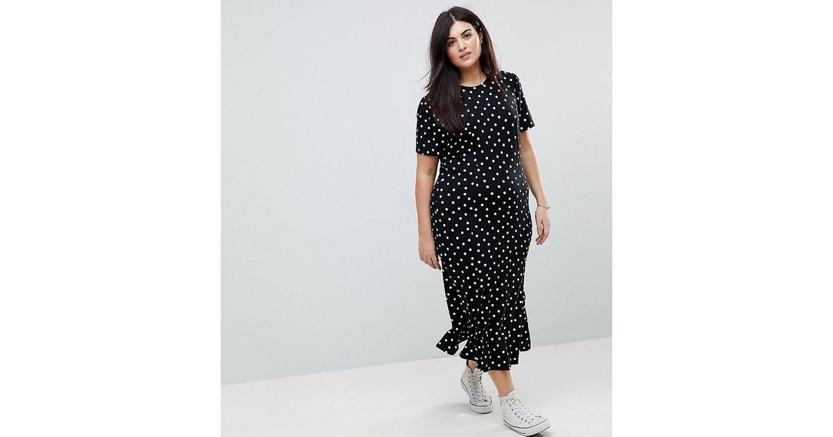 9cf0a61daec ASOS City Maxi Tea Dress In Polka Dot Print in Black - Lyst