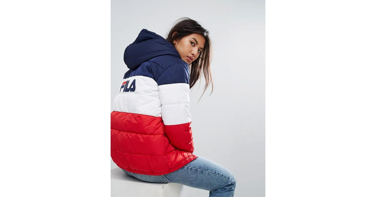 5c12f41307cc Lyst - Fila Longline Padded Jacket With Hood And Back Logo In Colourblock  in Blue