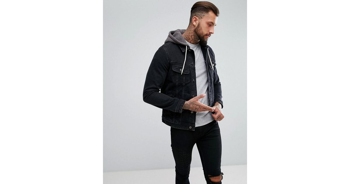 1ab99ccc4e51 Lyst - ASOS Denim Jacket With Jersey Hood In Black in Black for Men
