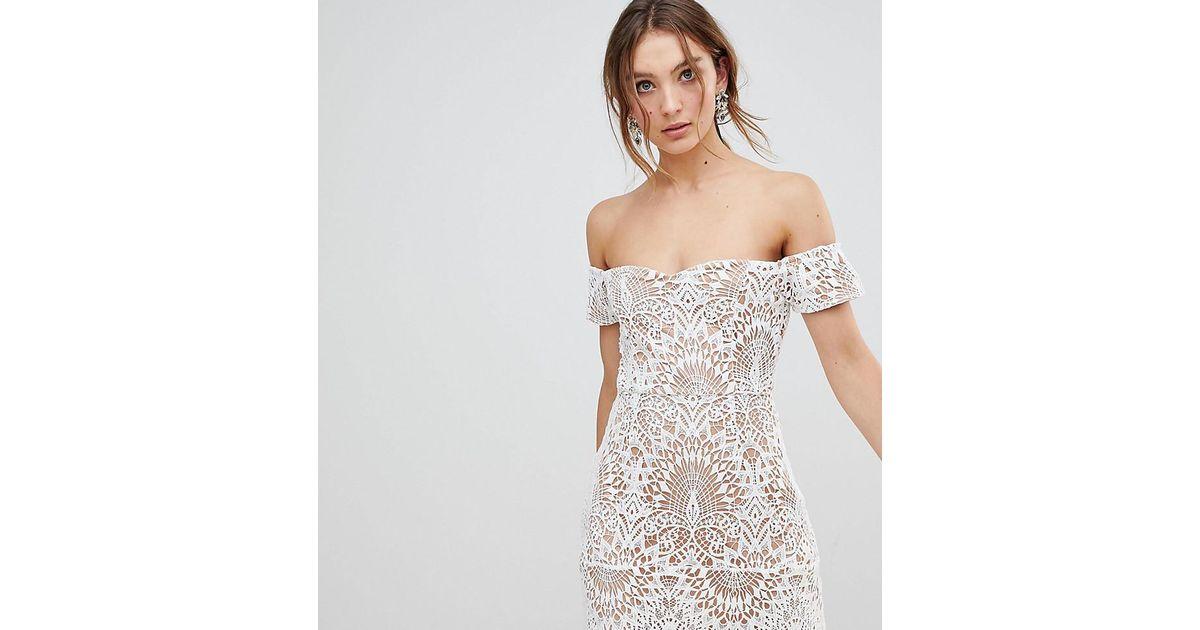 5857da7b6014f Boohoo Lace Overlay Bardot Dress in White - Lyst