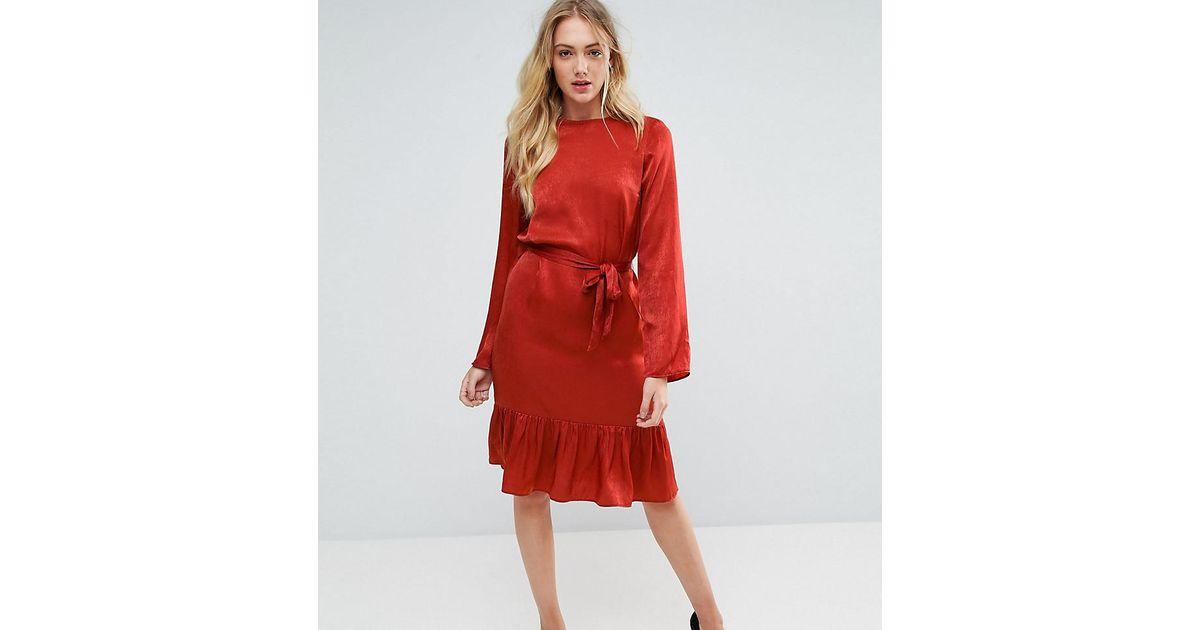 010bc61a7c Lyst - Y.A.S Satin Tie Waist Ruffle Hem Dress in Red
