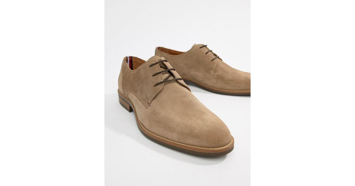 Tommy Hilfiger Gray Essential Suede Lace Up Derby In Taupe Grey for men