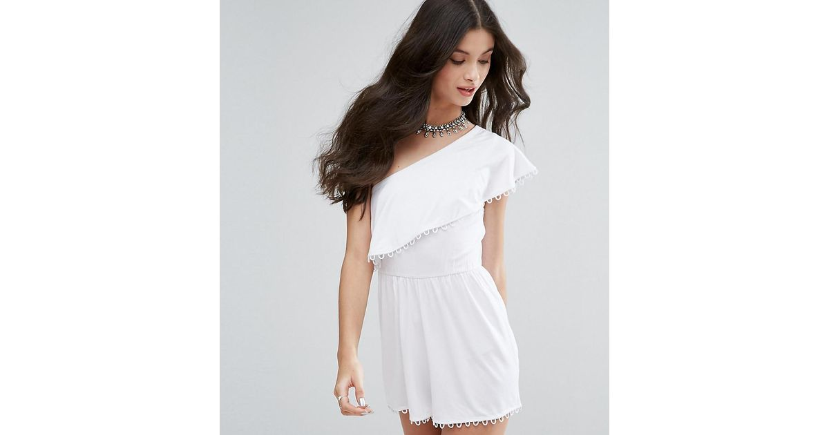 def15479ab8 Lyst - Asos One Shoulder Ruffle Romper With Trim in White