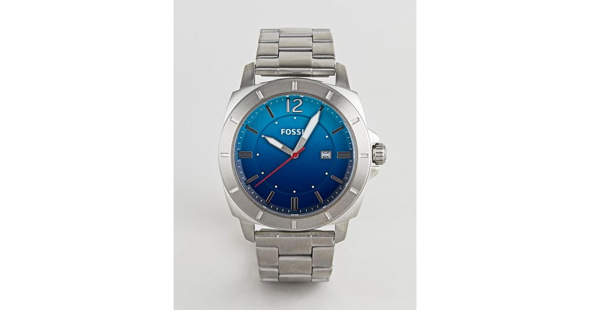 e0c99565af82 Fossil Bq2344 Mens Stainless Steel Watch With Blue Dial In Metallic