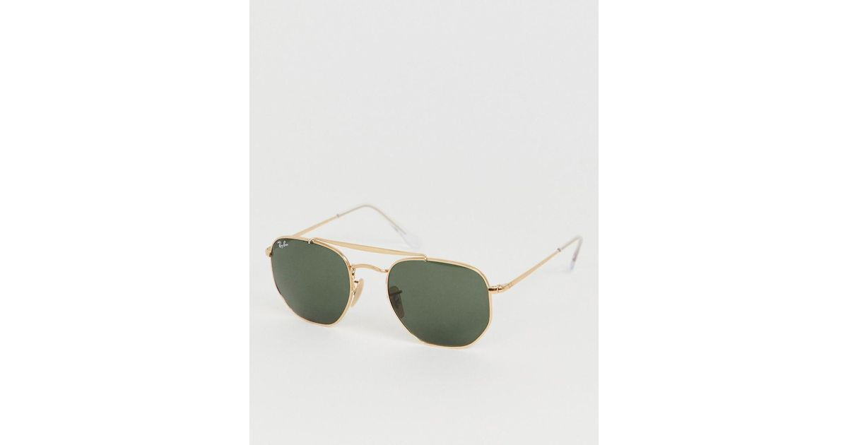 5f00a49d79 Ray-Ban 0rb3648 Hexagonal Aviator Sunglasses With Double Brow in Metallic  for Men - Lyst
