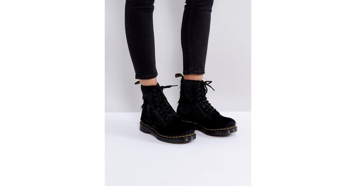 c69f67880e3a Dr. Martens 1460 Pony Hair Boots in Black - Lyst