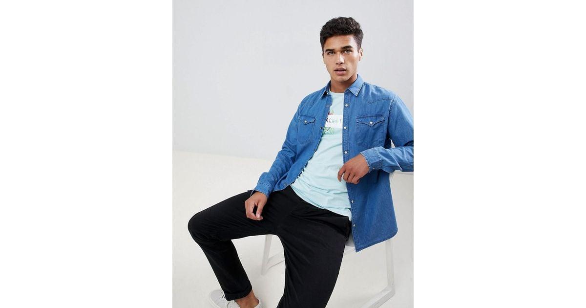 1cf09b712bb Lyst - SELECTED Blue Denim Overshirt in Blue for Men