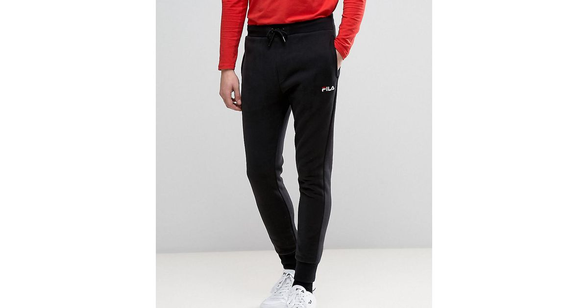 321839d06dfdb Lyst - Fila Vintage Skinny Joggers With Small Script in Black for Men