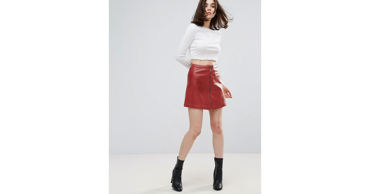 muubaa kalu zip front leather skirt in lyst