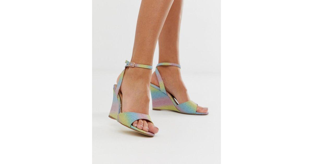 5df51fd03521 Dune Head Over Heels Milley Rainbow Glitter Wedge Sandals - Lyst