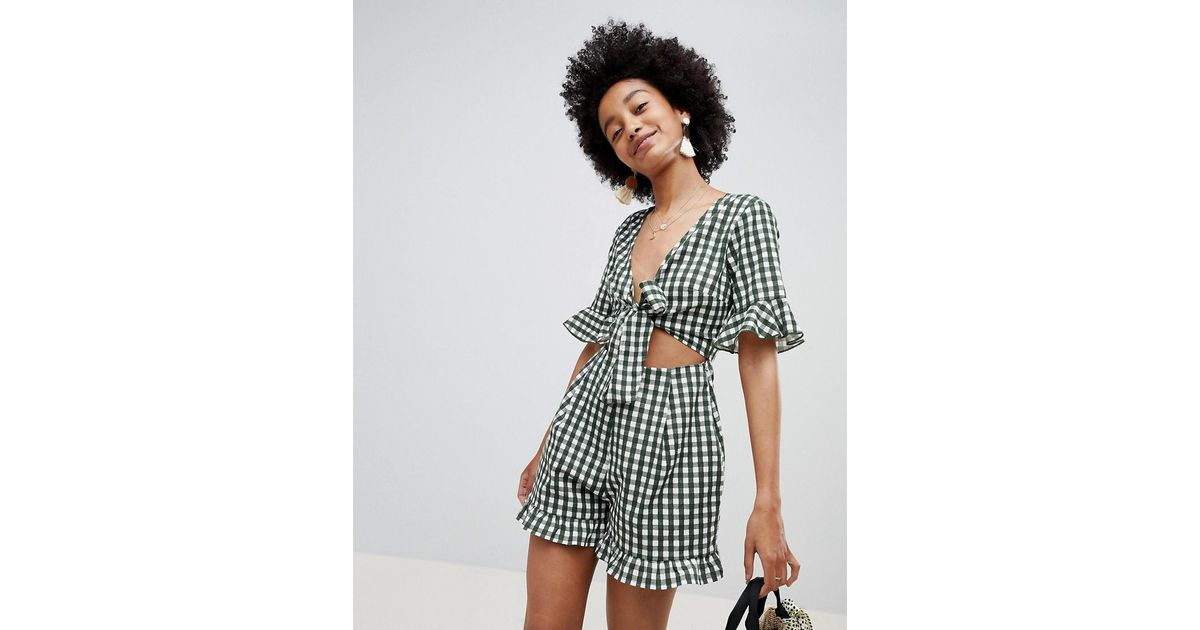 dabe361e40 ASOS Romper With Cut Out And Tie Detail In Linen In Gingham - Lyst