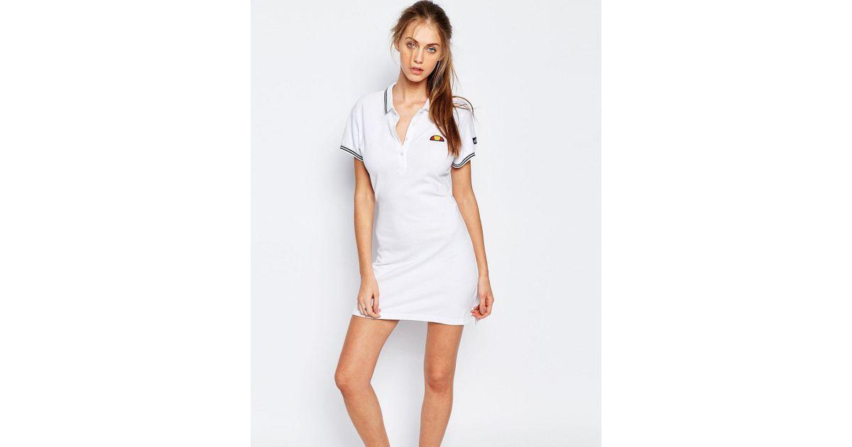 46442e06404 Ellesse Polo T-shirt Dress in White - Lyst