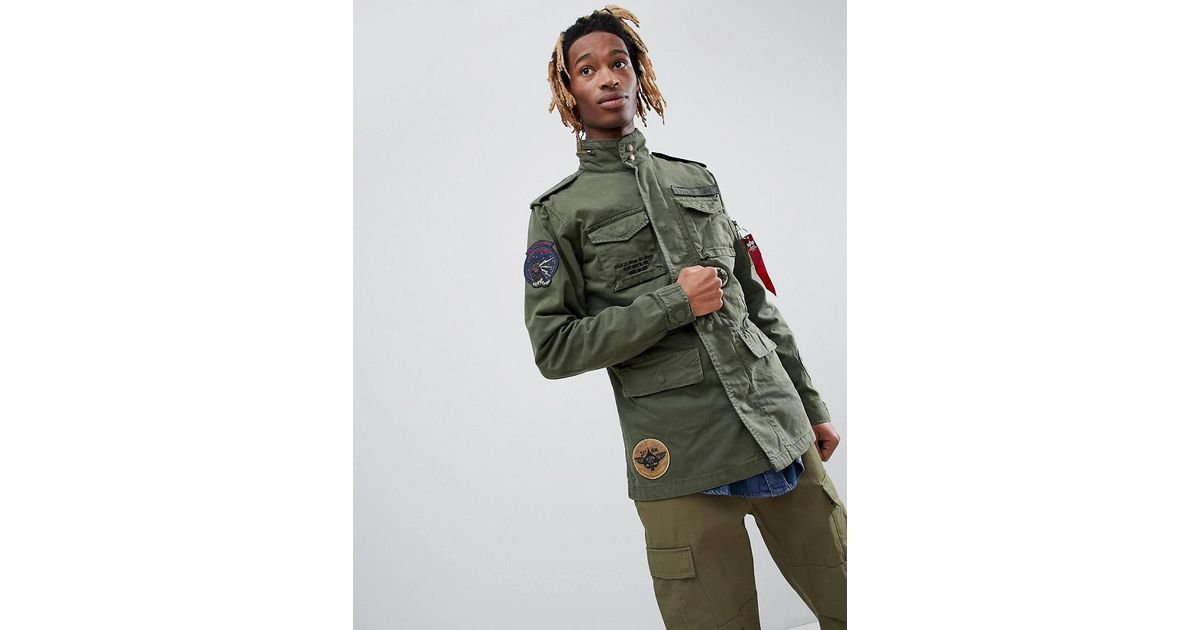 f4caa7847855 Alpha Industries Huntington Patch M65 Jacket Badge Detail In Green in Green  for Men - Lyst