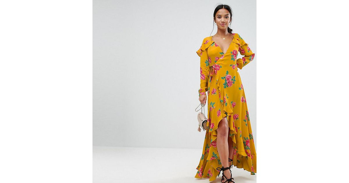 89cebb079cb7 ASOS Long Sleeve Wrap Maxi Dress In Bold Floral in Yellow - Lyst