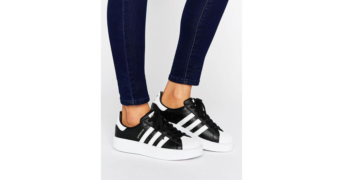 1410879662d adidas Originals Originals Bold Double Sole Black And White Superstar  Sneakers in Black - Lyst