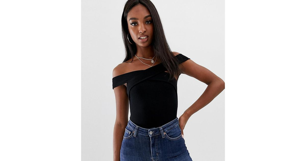 b943aef8c80 ASOS Asos Design Tall Off Shoulder Body With Wrap Front And Short Sleeve In  Black in Black - Lyst