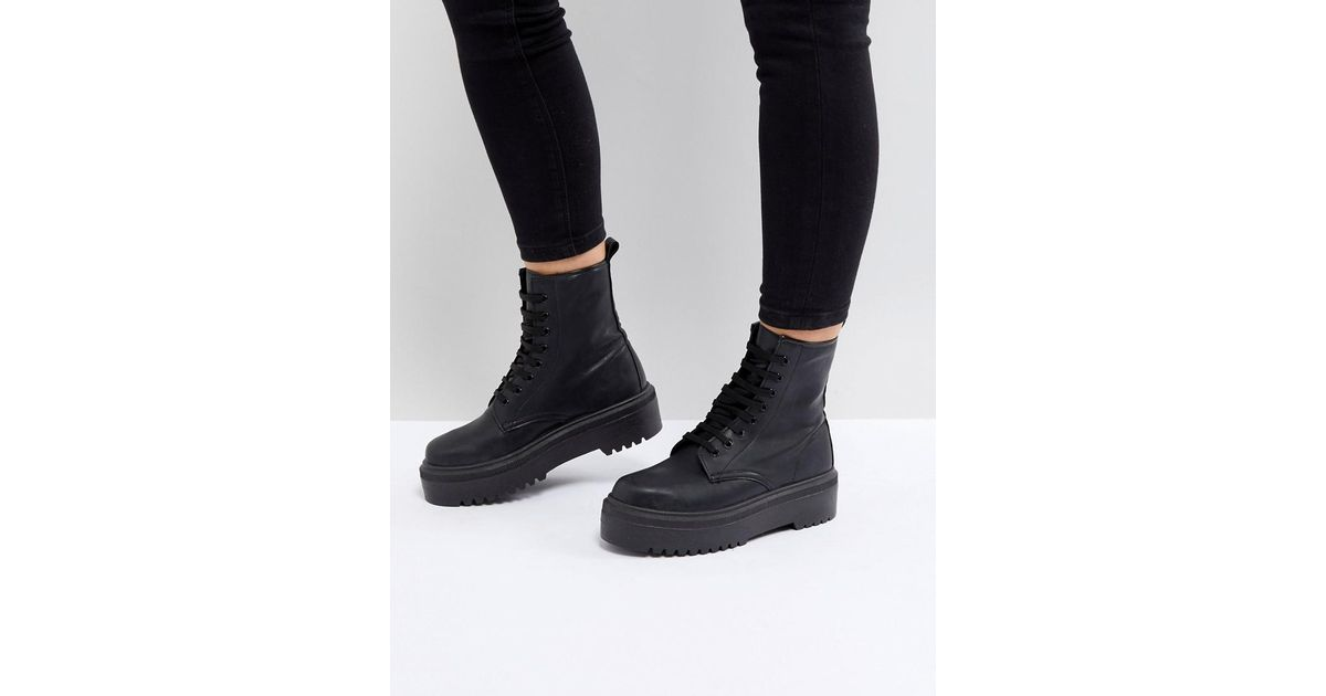 a44ee2ac1 ASOS Attitude Wide Fit Chunky Lace Up Boots in Black - Lyst