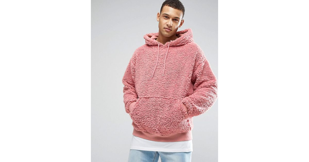 De Lyst Imitation Mouton For Oversize Capuche À Men En Peau Sweat Asos Pink  w6Yq768 a627fb3c4946