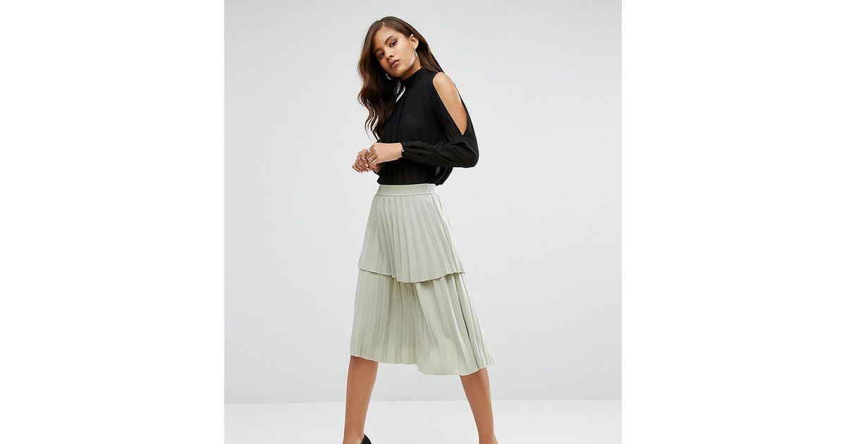 03af522da Y.A.S Julia Pleated Ruffle Layered Midi Skirt in Green - Lyst