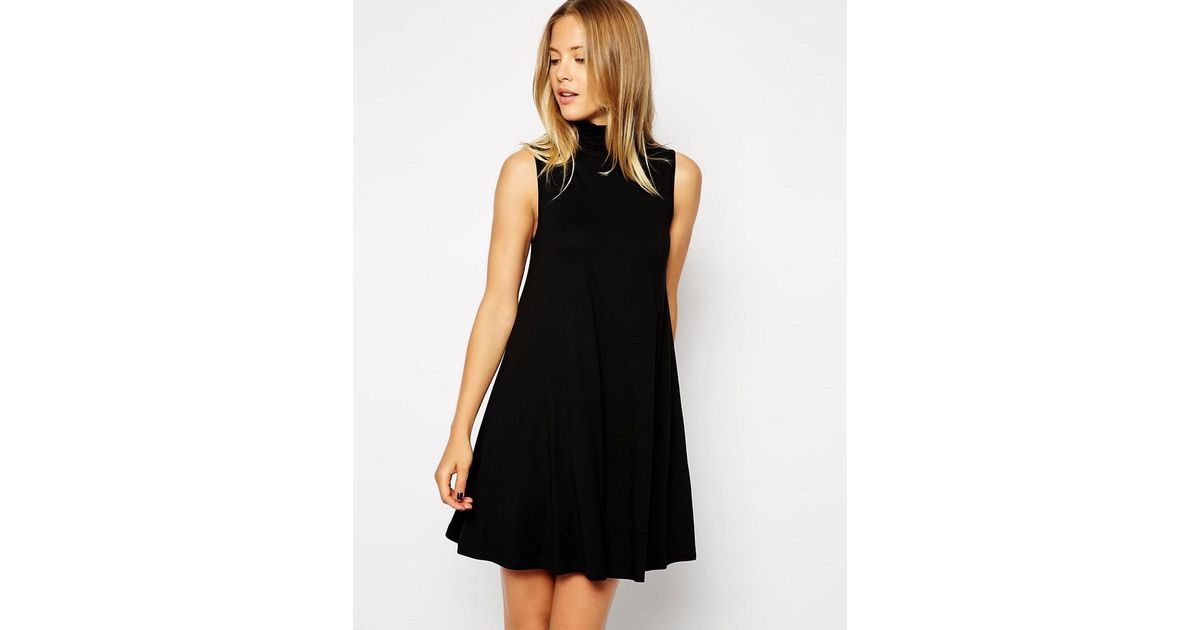 Lyst Asos Asos Sleeveless Swing Dress With Polo Neck In Black