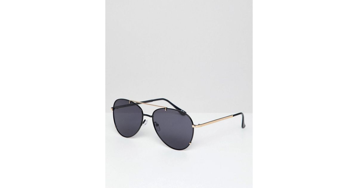 716bc8a856 Asos Round Aviator Sunglasses In Black With Gold Brow Bar in Black for Men  - Lyst