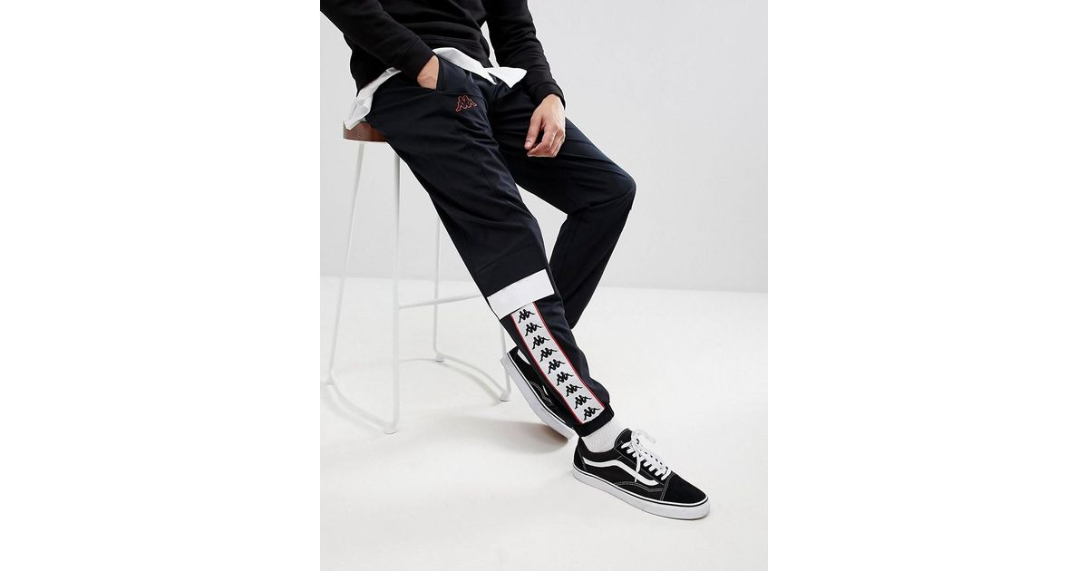 89c5b3f9 Kappa - Black Track Joggers With Banda Taping Panel for Men - Lyst