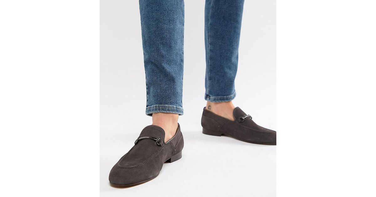 14a7e83806b H by Hudson Wide Fit Banchory Bar Loafers In Grey Suede in Gray for Men -  Lyst