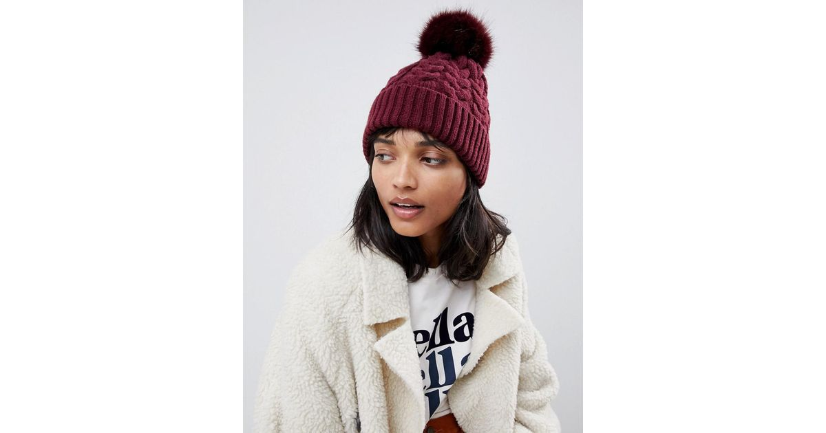 ca7545cb450 Lyst - ASOS Cable Faux Fur Pom Beanie In Recycled Polyester in Red