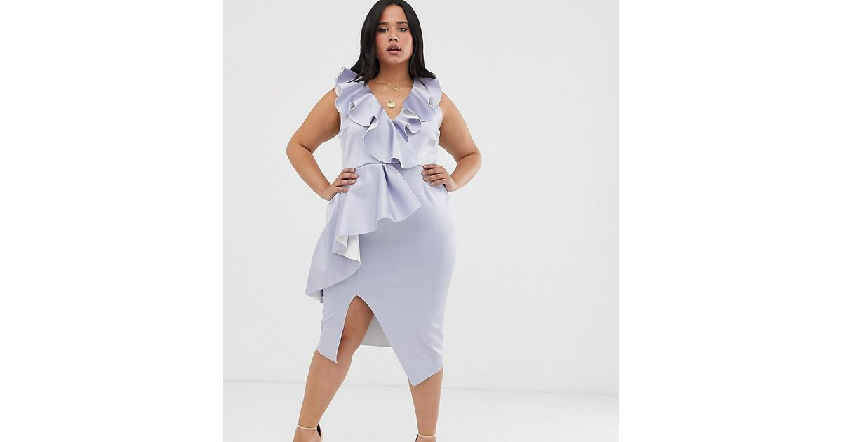 43dc118efc0 ASOS Asos Design Curve Plunge Ruffle Midi Dress With Waterfall Skirt in  Blue - Lyst