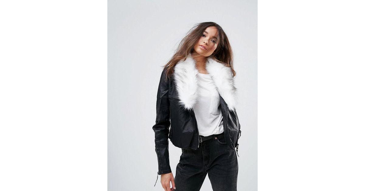 f4556bf2edc47 Urban Bliss Pacific Pu Biker Jacket With Faux Fur Jacket in Black - Lyst