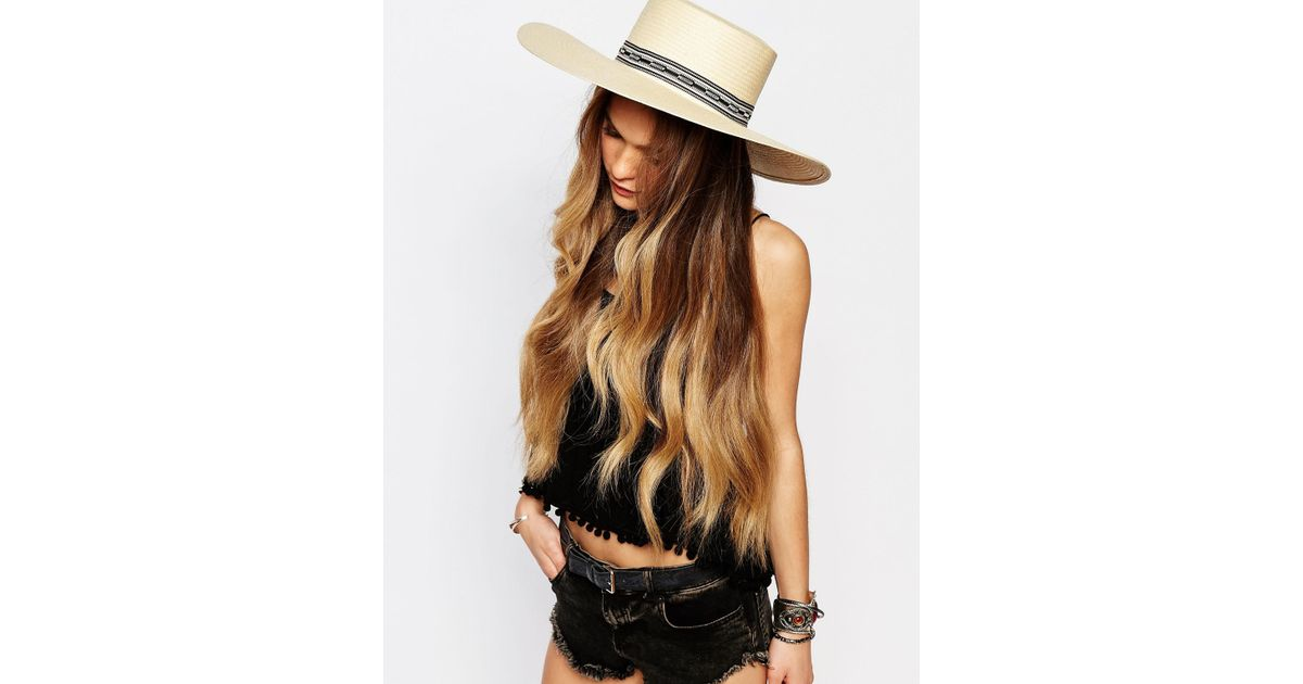 3d90047a536f37 Lyst - Brixton Wide Brim Matador Straw Hat With Woven Band