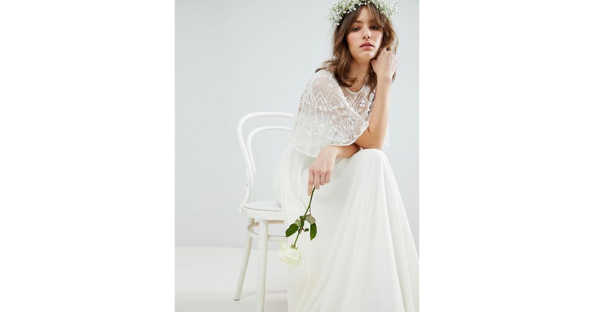 3dcf7e05c16b Lyst - ASOS Maxi Wedding Dress With Embellished Crop Top in White