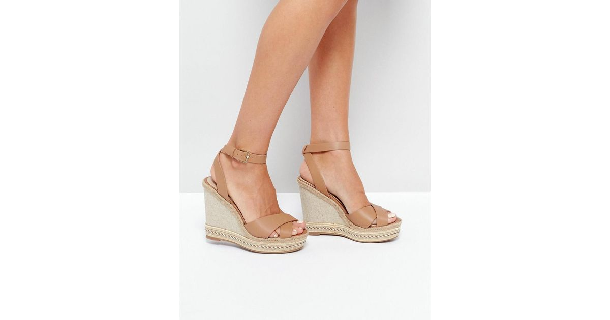 4300ac6ce6c Lyst - ALDO Clodia Tan Espadrille Wedge Sandals in Brown