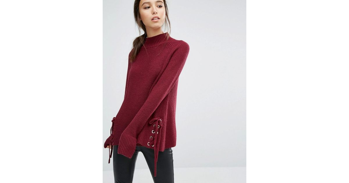 9d21085be9a French Connection Freedom Sweater With Lacing In Red Lyst