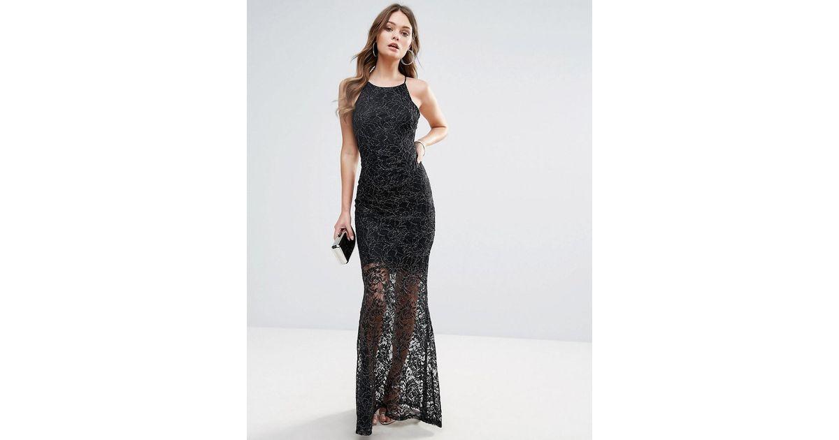 b7daf4f2 Lipsy Glitter Lace Fishtail Maxi Dress in Black - Lyst