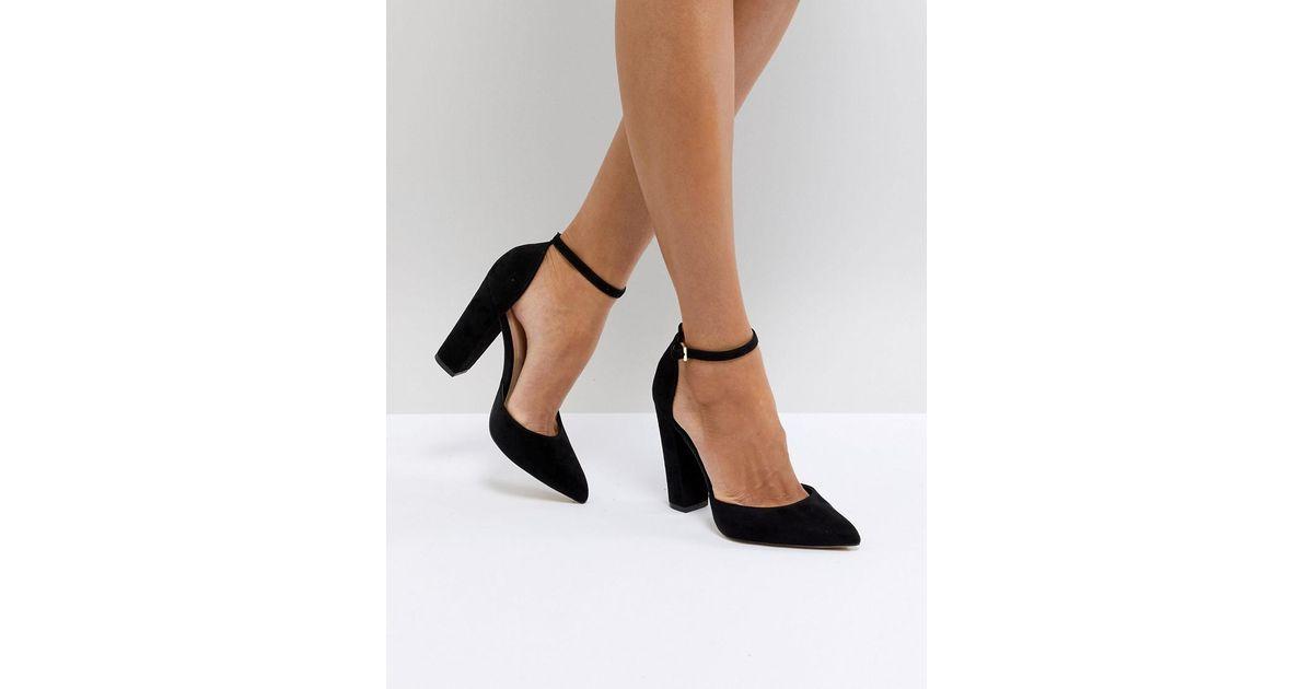 f4468e61c1b Lyst - ALDO Nicholes Black Ankle Strap High Heeled Pointed Shoe in Black