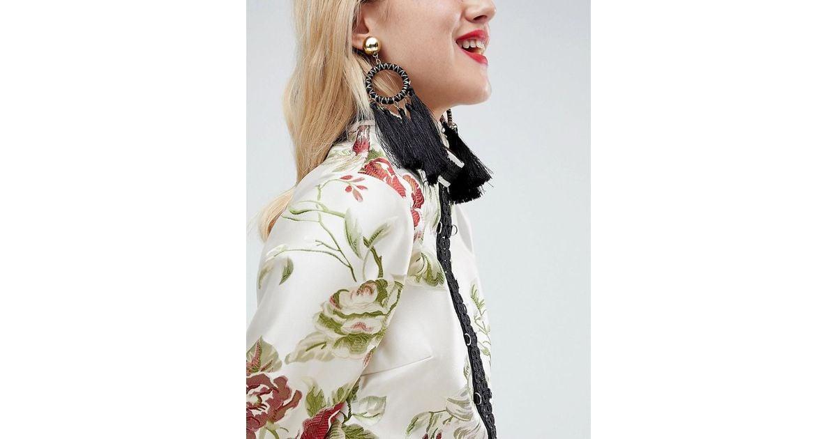 Statement Woven Open Circle Tassel Earrings - Gold Asos KU2Hwd