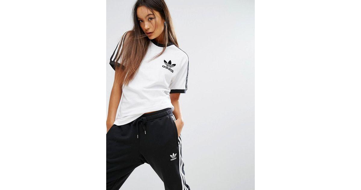 52ae99b78f7d Lyst - T-shirt à trois bandes adidas Originals en coloris Blanc