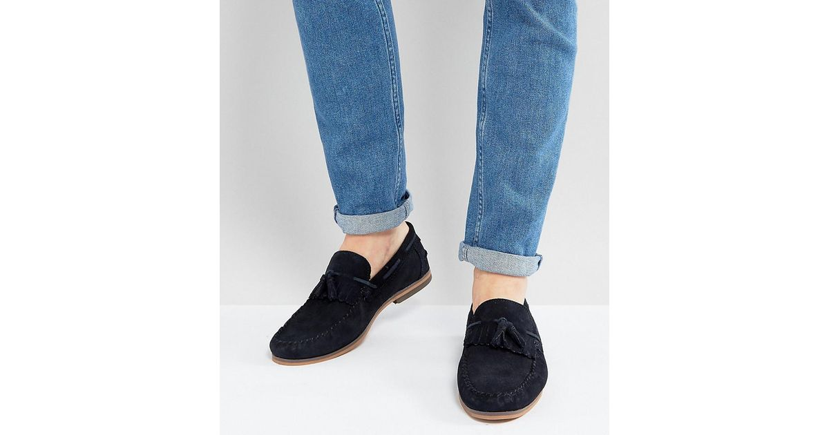 16313431739 ASOS Asos Wide Fit Tassel Loafers In Navy Suede With Fringe And Natural  Sole in Blue for Men - Lyst