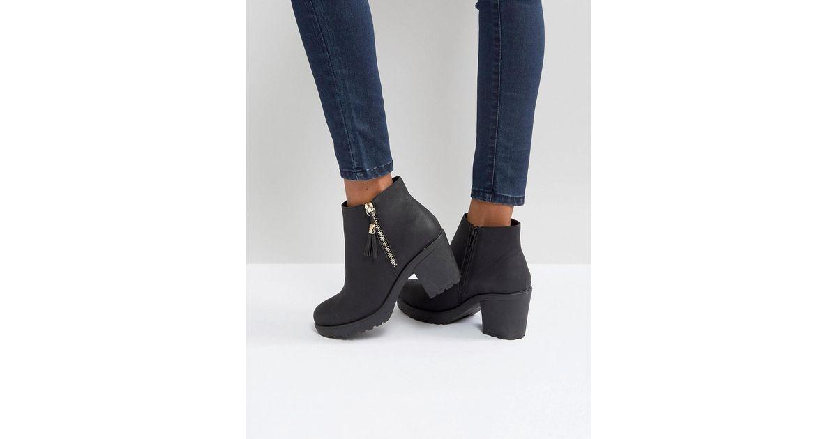 21b77457282 Lyst - Boohoo Zip Side Chunky Heel Ankle Boot in Black