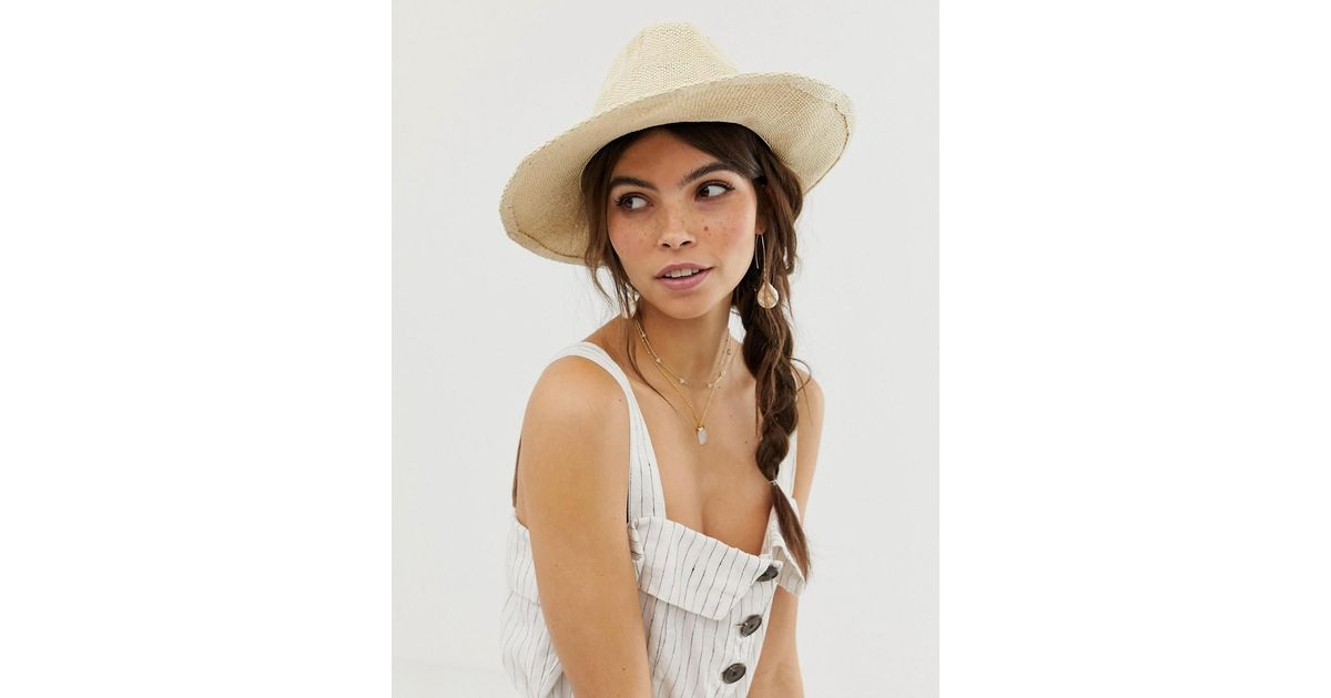 a64e35c9 Lyst - Asos Straw Fedora With Size Adjuster in Brown