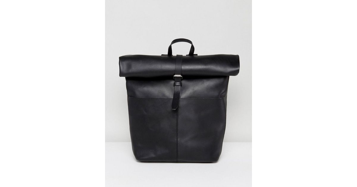 3145a4570d Lyst - Sandqvist Antonia Black Leather Roll Top Backpack in Black
