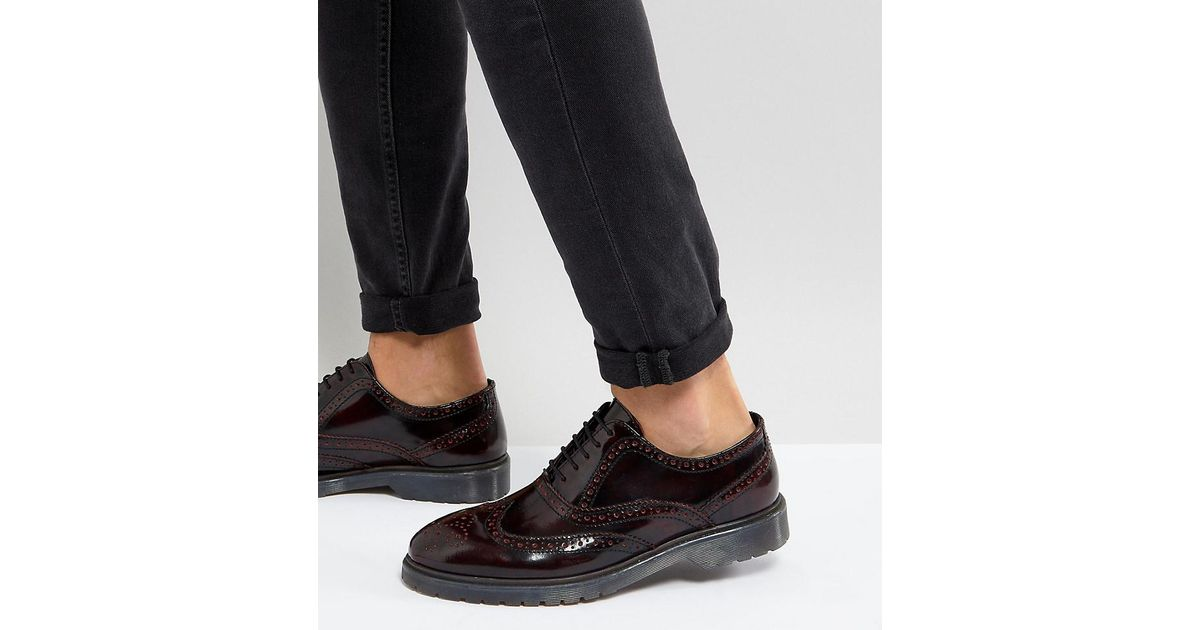 ASOS Derby Brogue Shoes In Burgundy Leather With Ribbed Sole