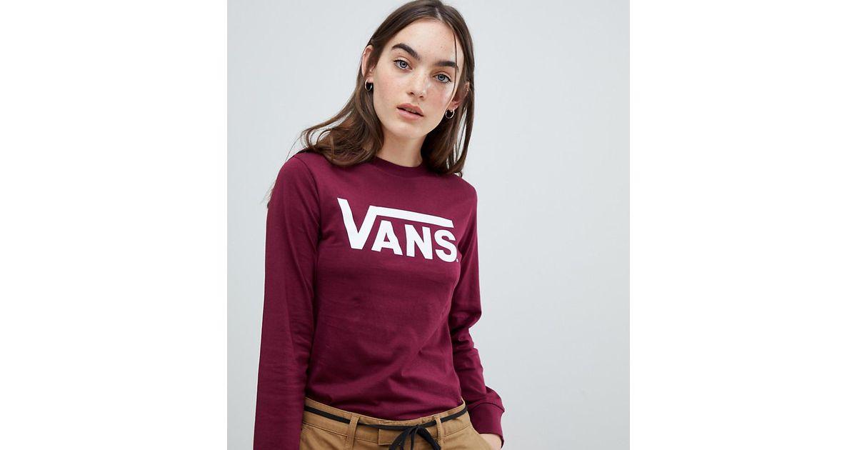 Vans Red Burgundy Classic Logo Long Sleeve T shirt